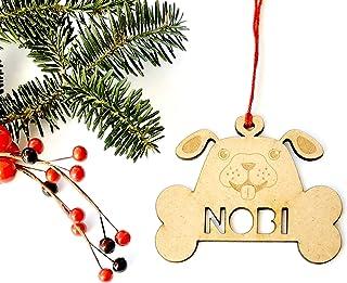 Adorno mascota perro de Navidad de madera personalizadas ornamento para el árbol de Navidad