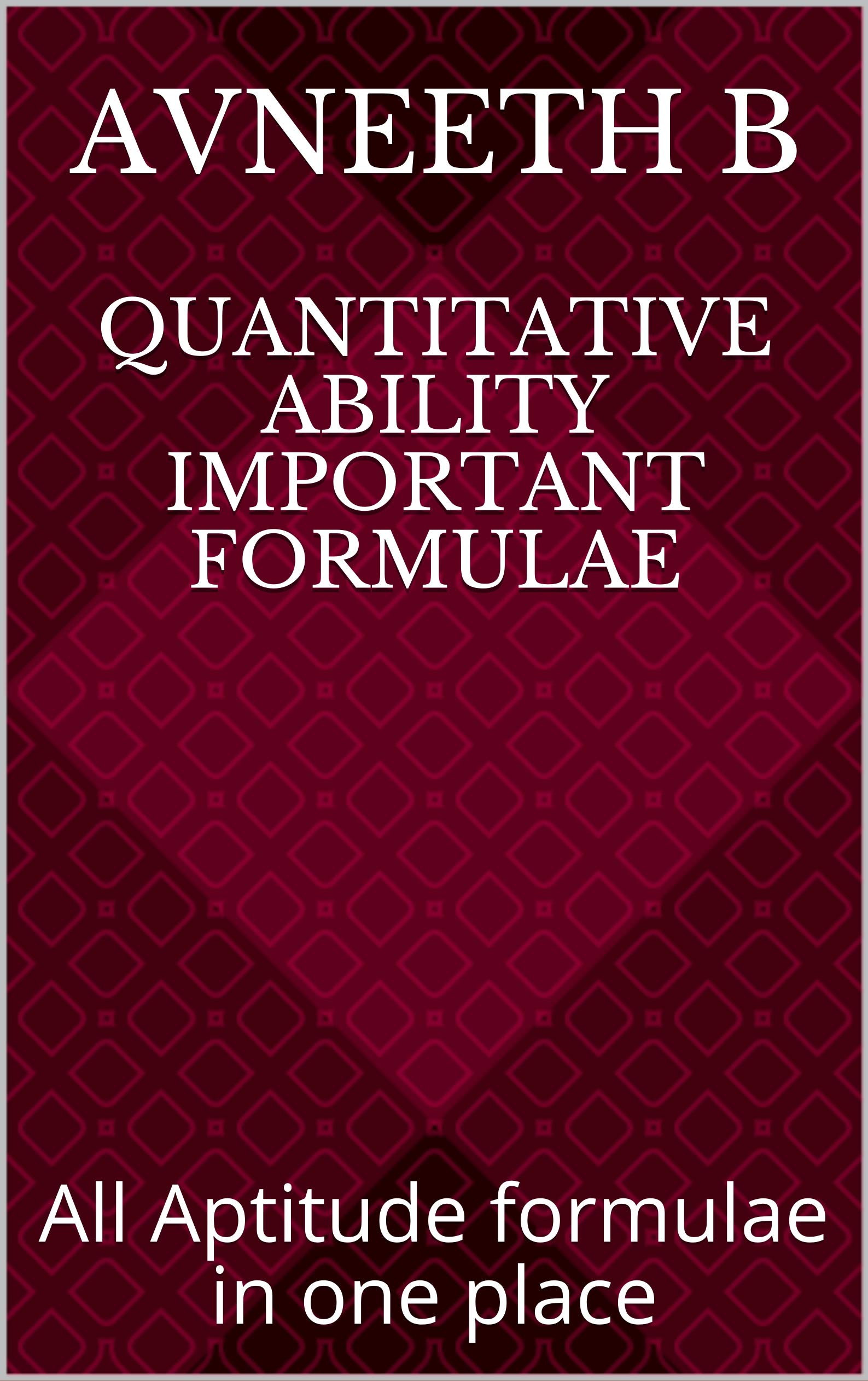 Quantitative Ability Important formulae: All Aptitude formulae in one place