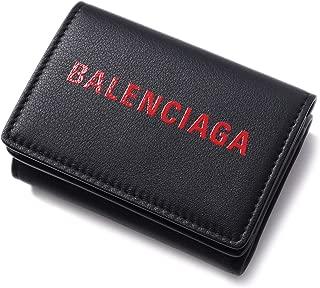 [バレンシアガ(BALENCIAGA) ]ミニウォレット ミニ財布 ロゴ エンボスロゴ レザーウォレット 財布 BLACK ブラック レッド エブリデイ 三つ折り財布 505055 DLQHN 1064 [並行輸入品]