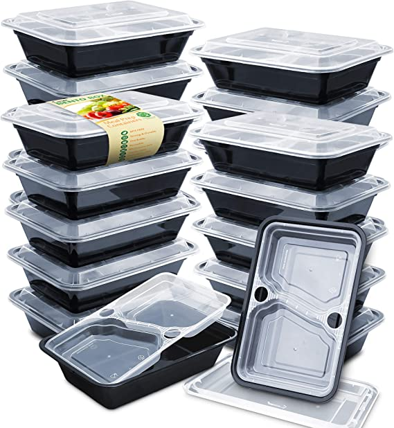 Enther 36oz Meal Prep Containers 20 Pack 3 Compartment with Removable Insert Tray 2-Tier Food Storage Bento Box with Lids