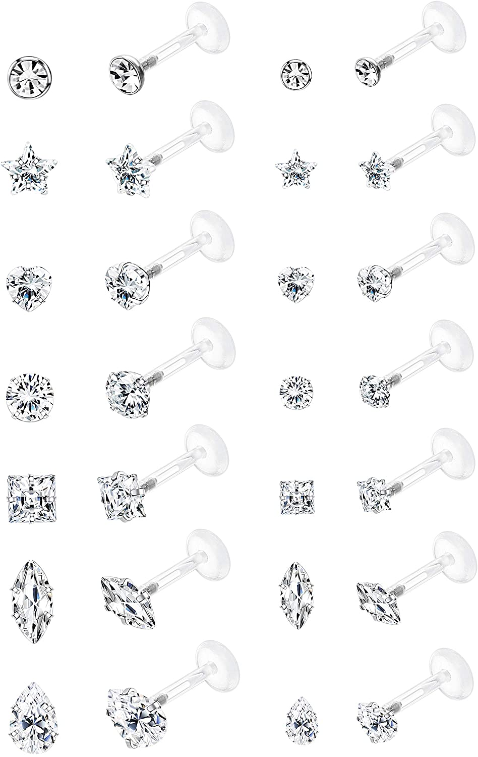 Jstyle 14Pairs 16G Forward Helix Cartilage Tragus Earring Studs