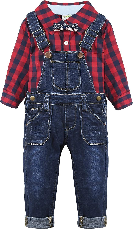 Chumhey Baby Lttle Boys Red Plaid Shirt Denim Bib Overalls Jeans Pants Set