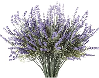 Butterfly Craze Artificial Lavender Plant 8-Piece Bundle – Lifelike Faux Silk Flowers for Weddings, Crafting, Kitchen Deco...
