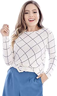 Suéter Mania de Sophia Tricot Xadrez Off White