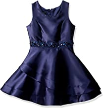Amy Byer Girls' Big Sparkle Waist Party Dress with Asymetrical Double Skirt