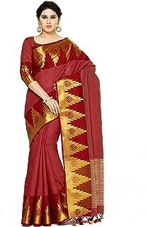 Mimosa By Kupinda Women's Tussar Silk Saree Banarasi Style Sarees sarees sarees Color : Maroon (4072-273-MRN)