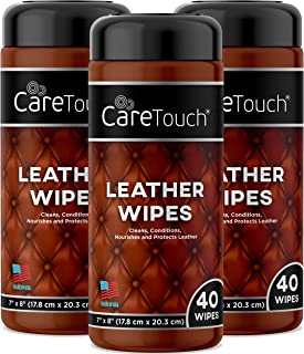 Care Touch Leather Wipes   Cleans, Conditions, and Protects Leather Goods   Pack of 3   120 Wipes