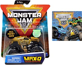2019 Monster Jam MAX-D Maximum Destruction Gold & One Monster Jam Sticker (Styles Vary) 2 Items Bundle