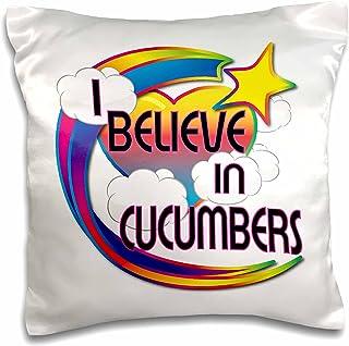 """3dRose I Believe in Cucumbers Cute Believer Design-Pillow Case, 16 by 16"""" (pc_166401_1)"""