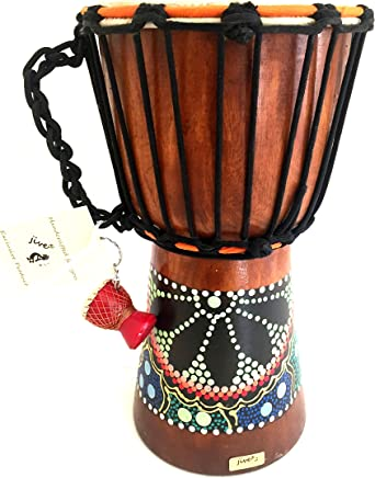 """Djembe Drum Bongo Congo African Wood Drum - MED SIZE- 12"""" High, JIVE (TM) BRAND, Professional Premium Quality With Heavy Base/Includes Drum Key Chain"""