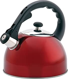 Creative Home Satin Splendor Metallic 2.8 Quart Whistling Tea Kettle, Cranberry
