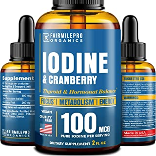 Iodine Supplement for Thyroid Support & Hormonal Balance - Made in USA - Fast-Absorbing Tincture of Iodine for Energy, Cla...