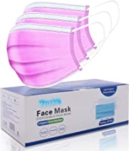 Face Mask Disposable [50 Pc/Box] Non Surgical 3-Ply Earloop Mouth Cover Masks- Pink