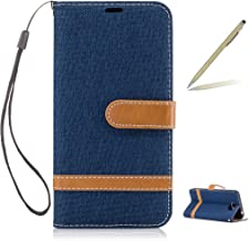 Trumpshop Smartphone Protective Case for Huawei Y6 II Compact [Deep Blue] Cowboy Style Premium PU Leather Flip Wallet Cover Bookstyle [Not compatible with Huawei Y6 and Y6 II]
