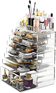 Readaeer Makeup Cosmetic Organizer Storage Drawers Display Boxes Case with 12 Drawers (Clear)