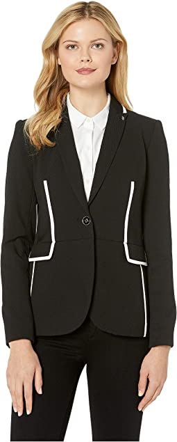Textured One-Button Contrast Jacket