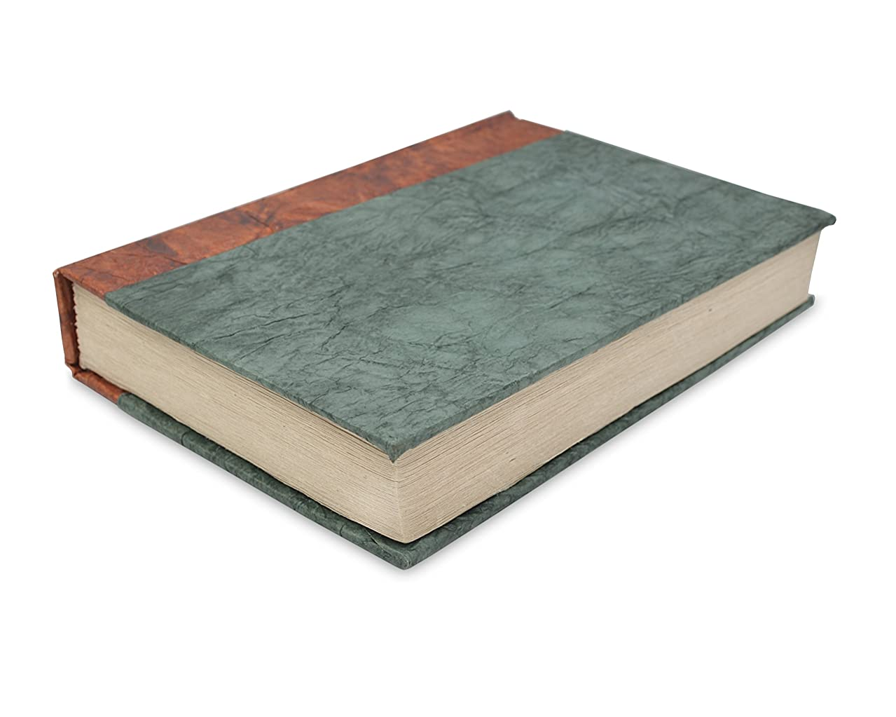 Nepali Eco Writing Journal with Extra-Thick Vintage Handmade Lokta Paper, Clean-cut, Made in the Himalayas of Nepal, 6x9 Inches (Forest Green, Epic)