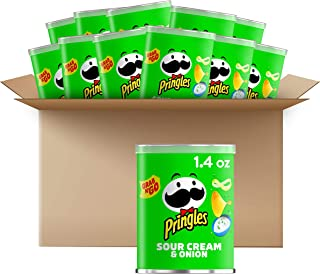 Pringles Potato Crisps Chips - Sour Cream and Onion Flavored Salty Snack, Lunch Food, Single Serve 1.4 Oz Cans (Pack of 12)