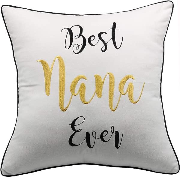 YugTex 枕套最好的永远家居装饰枕头娜娜 Nana 礼盒农家靠枕乔迁礼品礼物送给父母祖父母外祖父母奶奶的礼物最好的娜娜象牙法令》个法令》