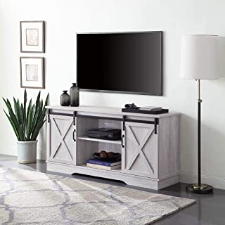 """BELLEZE Modern Farmhouse 58"""" Sliding TV Stand Console with Storage for TVs Up to 65"""", Sargent Oak"""