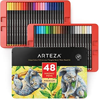 ARTEZA Inkonic Fineliners Fine Point Pens, Set of 48 Fine Tip Markers with Color Numbers, 0.4mm Tips, Ergonomic Barrels, B...