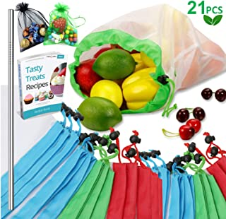 Reusable Produce Bags, 21PCS -18 Washable Mesh Bag, 2 Mini Bag, 1 Metal Straw, with Eco Friendly Toy Fruit Vegetable Produce Bags with Drawstrings for Home Shopping Grocery - 3 Various Sizes