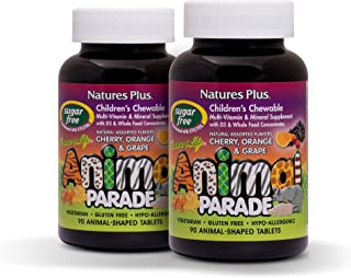 NaturesPlus Animal Parade Source of Life Sugar-Free Children's Multivitamin (2 Pack) - Assorted Cherry, Orange & Grape Fla...