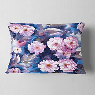 Designart CU6345-12-20 White Briar in Classical Style' Floral Throw Cushion Pillow Cover for Living Room, Sofa, 12 in. x 2...
