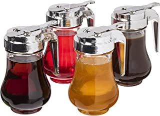 Syrup Dispensers 4-pack, 6.75oz (200mL) - Glass Bottle No-Drip Pourers for Maple Syrup, Salad Dressings, Honey, Sugar, Oil...