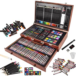 143 Piece Deluxe Art Set in Wooden Box with Handle, Art Supplies for Kids and Adults, Professional Painting & Drawing Tool...