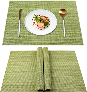 Dinning Table Placemats Set of 4, Heat Insulation & Stain Resistant Washable Place Mats, Durable Non-Slip Kitchen Table Ma...