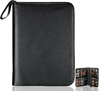 Fountain Roller Pen Case Holder Black PU Leather Bag for 48 Pens Collection