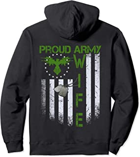 Vintage retro Flag Proud Army Wife Dog Tags Military gift  Pullover Hoodie