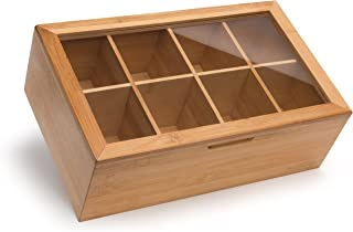 randomgrounds 100% Bamboo Tea Box Storage Organizer, Taller Size Holds 120+ Standing or Flat Tea Bags, 8 Adjustable Chest Compartments, Natural Wooden Finish