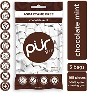 PUR 100% Xylitol Chewing Gum, Chocolate Mint, Sugar-Free + Aspartame Free, Vegan + non GMO, 55 Count (Pack of 3)