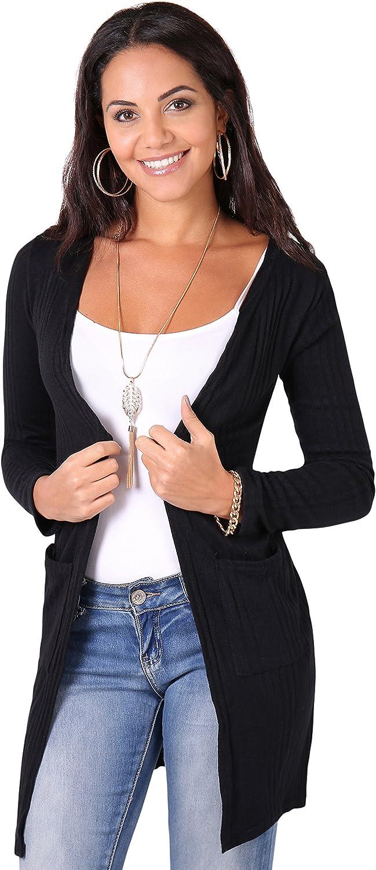 KRISP Womens Basic Long Sleeve Jersey Cardigan Sweater with Pockets