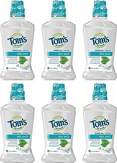 Tom's of Maine Sea Salt Natural Mouthwash, Alcohol Free Mouthwash, 16 Ounce 6-Count