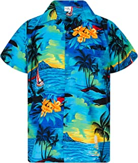 King Kameha Hawaiian Camicia per Uomo Funky Casual Button Down Very Loud Shortsleeve Surf Unisex