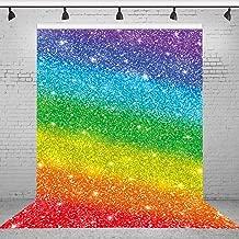 Riyidecor Polyester Fabric Colorful Backdrop Rainbow Stripes Portrait Birthday 5(W) x7(H) Feet Photography Backgrounds Baby Shower Child Birthday Party Celebration Photo Shoot Studio (No Glitter)
