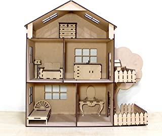StonKraft Wooden 3D Puzzle Doll House - Home Decor, Construction Toy, Modeling Kit, School Project - Easy to Assemble (Dol...