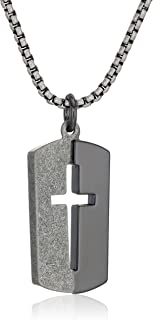 Steve Madden Mens Cross Cut Out Dog Tag Necklace