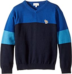 Paul Smith Junior - V-Neck Color Block Sweater (Toddler/Little Kids)