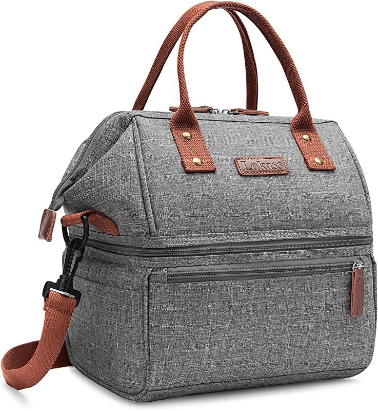 Lokass Lunch Bags For Women Wide Open Insulated Lunch Box With Double Deck Large Capacity Cooler Tote Bag With Removable Shoulder Strap Lunch Organizer For Men Outdoor Work Grey