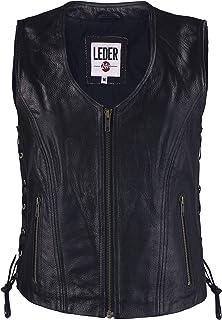 LEDER24H 1076 - Chaleco de Piel para Mujer con Cremallera, Color Negro