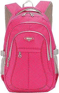 SellerFun Kid Child Girl Multipurpose Dot Backpack School Bag(Rose,Large)