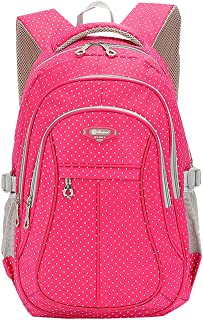 JiaYou Kid Child Girl Multipurpose Dot Backpack School Bag(Rose,Large)