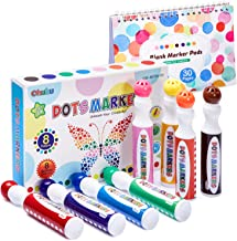Dot Markers Kit, Ohuhu 8 Colors Paint Marker with a Blank 30 Pages Marker Pad, Water-Based Non-Toxic Bingo Daubers for Kids Children (3 Ages +), Dot Art Markers for Back to School Art Supplies