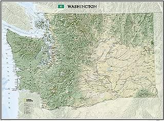 National Geographic: Washington Wall Map (40.5 x 30.25 inches) (National Geographic Reference Map)