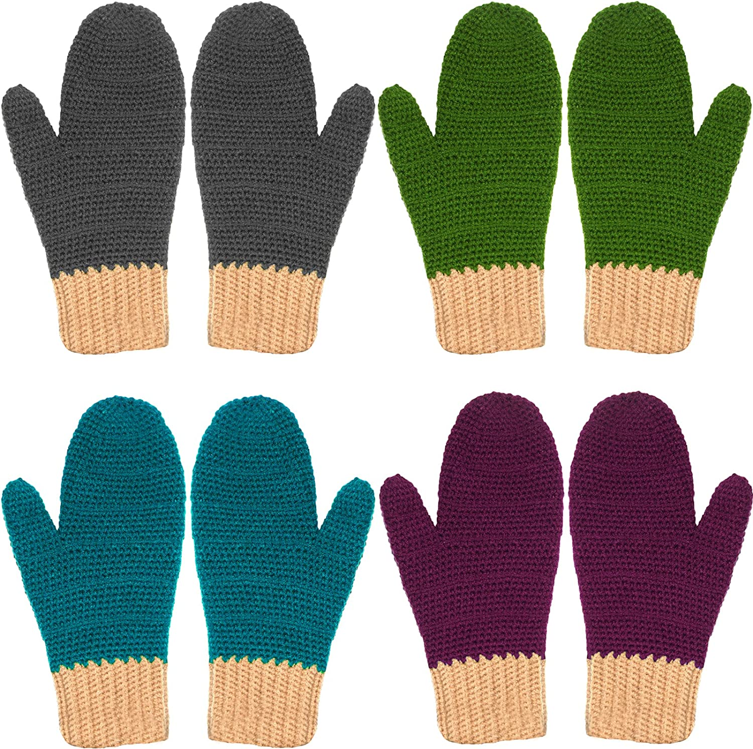 BIBITIME Unisex Adult Handmade Knitted Gloves Winter Cold Weather Warm Accessory
