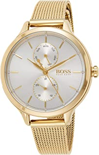 Hugo Boss Women's Silver White Dial Ionic Thin Gold Plated 1 Steel Watch - 1502537